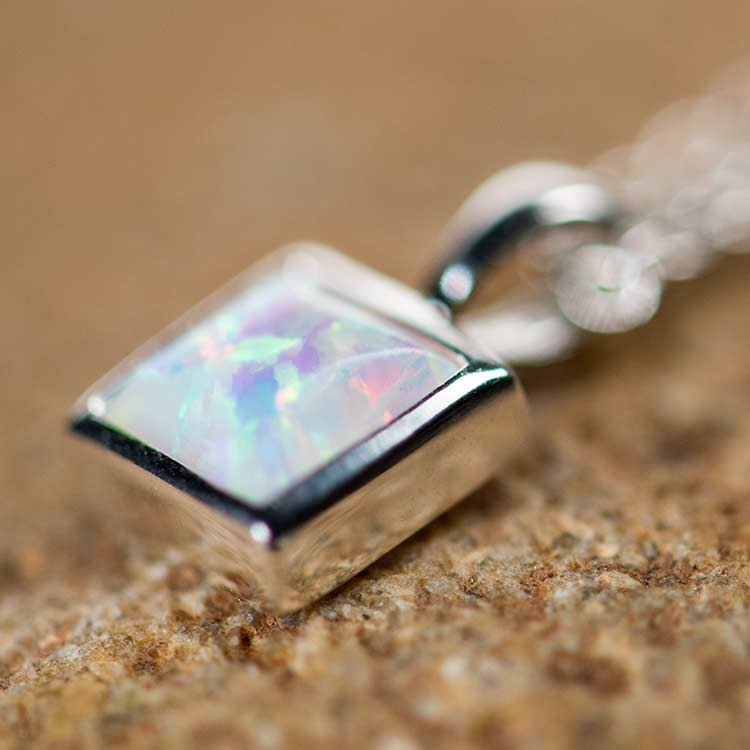 Square white necklace | Opal Mosaic - Reva online shop